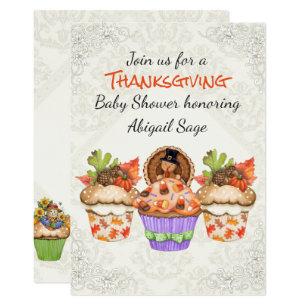 Thanksgiving baby shower invitations zazzle cute thanksgiving cupcakes baby shower invitation filmwisefo