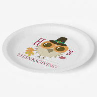 Cute Thanksgiving Dinner Plates Paper Owl thankful 9 Inch Paper Plate