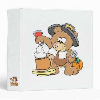 cute thanksgiving pilgrim bear eating pumpkin pie 3 ring binder