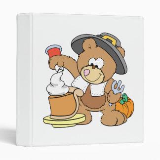 cute thanksgiving pilgrim bear eating pumpkin pie binder