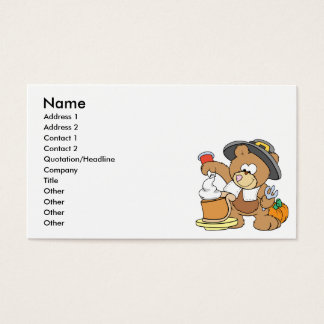 cute thanksgiving pilgrim bear eating pumpkin pie business card
