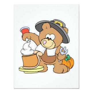 cute thanksgiving pilgrim bear eating pumpkin pie card