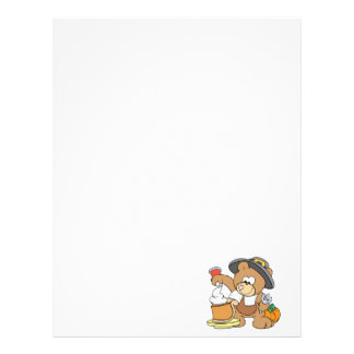 cute thanksgiving pilgrim bear eating pumpkin pie letterhead