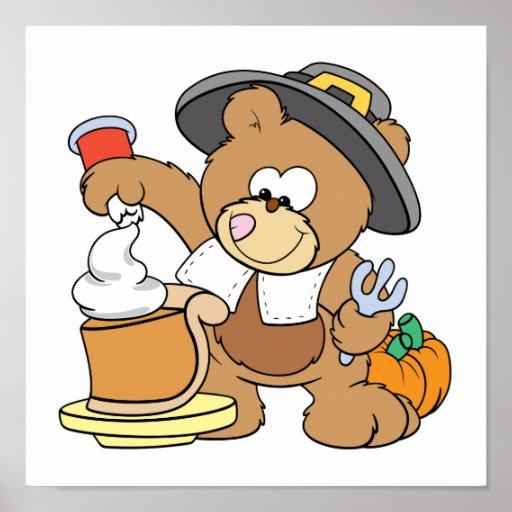 cute thanksgiving pilgrim bear eating pumpkin pie poster