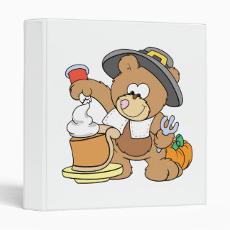 cute thanksgiving pilgrim bear eating pumpkin pie vinyl binder