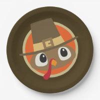 Cute Thanksgiving Pilgrim turkey party plate