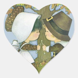 Cute Thanksgiving Pilgrim Wishes Heart Sticker