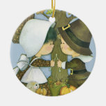 Cute Thanksgiving Pilgrim Wishes Double-Sided Ceramic Round Christmas Ornament