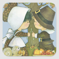 Cute Thanksgiving Pilgrim Wishes Square Sticker