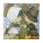Cute Thanksgiving Pilgrim Wishes Tile