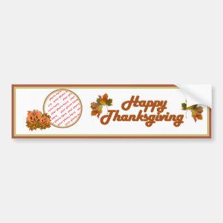 Cute Thanksgiving Pumpkins Photo Frame Car Bumper Sticker