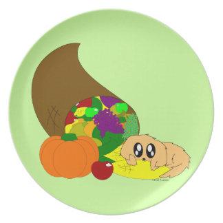 Cute Thanksgiving Puppy with Cornucopia Plate