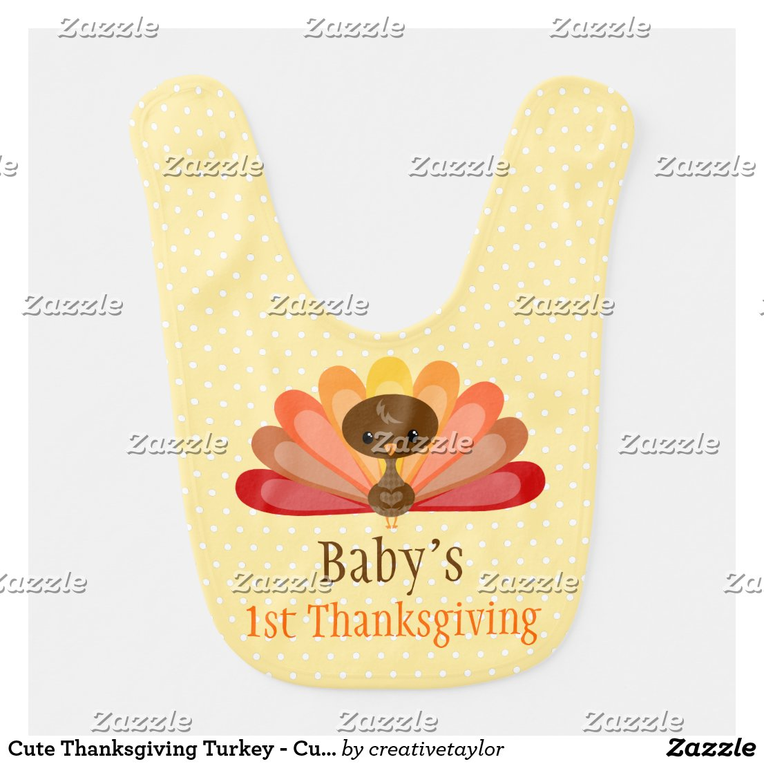 Cute Thanksgiving Turkey - Custom Baby Bib