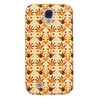 Cute Thanksgiving turkey hand prints pattern Samsung Galaxy S4 Case