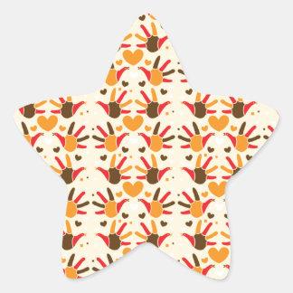Cute Thanksgiving turkey hand prints pattern Star Sticker