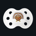 """Cute Thanksgiving Turkey Pacifier<br><div class=""""desc"""">This cute little turkey looks so shocked and surprised I couldn&#39;t resist giving him the caption &quot;It can&#39;t be November already!&quot; as if this year has flown by.    Feel free to customize with your name,  date,  or own funny caption!</div>"""