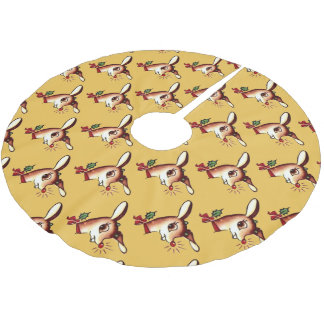 Cute the Red Nose Reindeer Tree Skirt