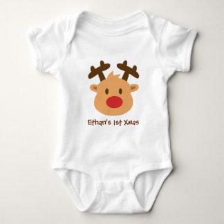 Cute the red nosed reindeer 1st Xmas Baby Bodysuit