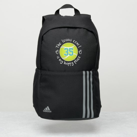 cute The tennis court is my happy place Adidas Backpack