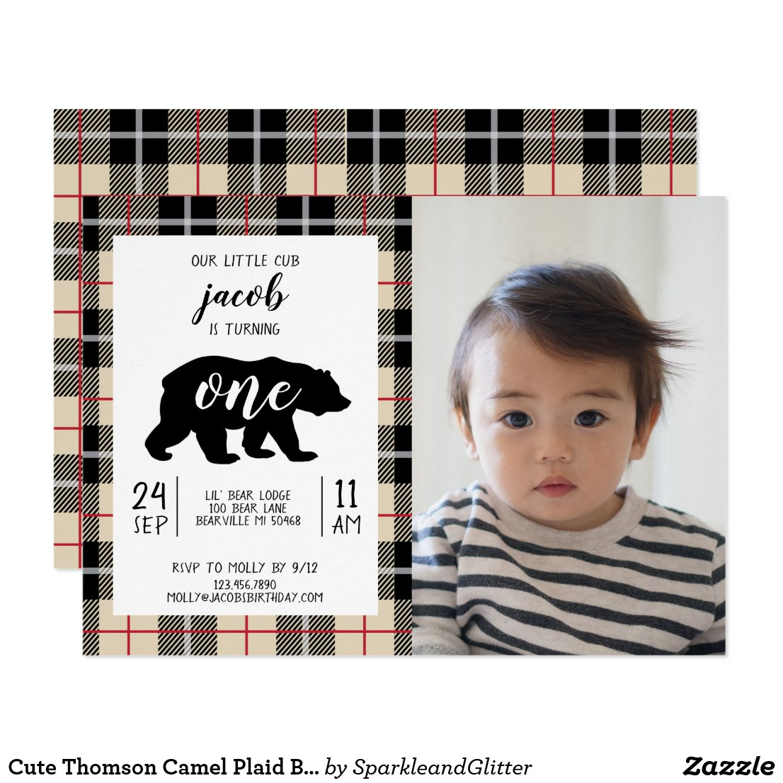 Cute Thomson Camel Plaid Baby Photo 1st Birthday Invitation