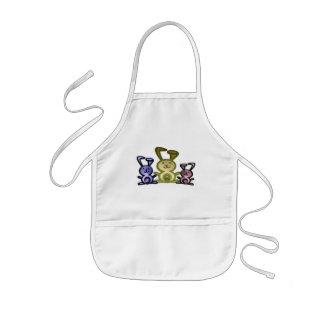 Cute three bunnies digital art kids' apron