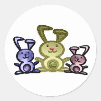 Cute three bunnies digital art round sticker