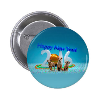 Cute Three Dogs Wishing Happy New Year 2016 Button