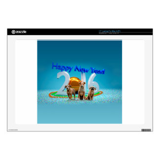 Cute Three Dogs Wishing Happy New Year 2016 Decal For Laptop