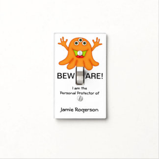 Cute Three Eyed Monster-Kids Name Light Switch Cover