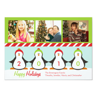 Cute three pictures penguins holiday photo card