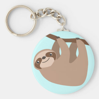 Cute Three-Toed Sloth Basic Round Button Keychain