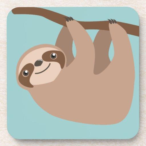 Cute Three-Toed Sloth Beverage Coaster