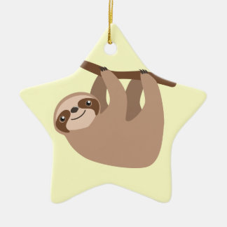 Cute Three-Toed Sloth Double-Sided Star Ceramic Christmas Ornament