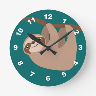 Cute Three-Toed Sloth Round Clock