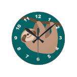 Cute Three-Toed Sloth Round Wall Clocks