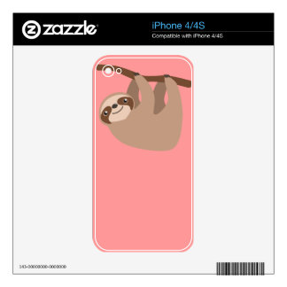 Cute Three-Toed Sloth Skins For iPhone 4S