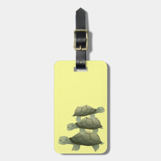Cute Three Tutles Stacked Terrapin Tag For Luggage