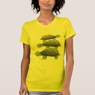 Cute Three Tutles Stacked Terrapin Tee Shirt