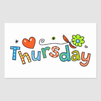 Cute Thursday Week Day Greeting Text Expression Rectangular Sticker