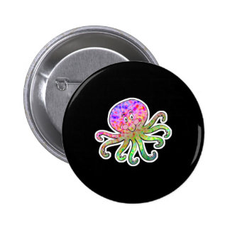 cute tie dye octopus button