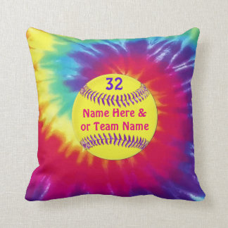 Cute Tie Dye Softball Throw Pillows PERSONALIZED