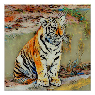 Cute Tiger Baby by JamColors Poster