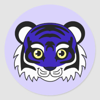 Cute Tiger Blueberry Classic Round Sticker