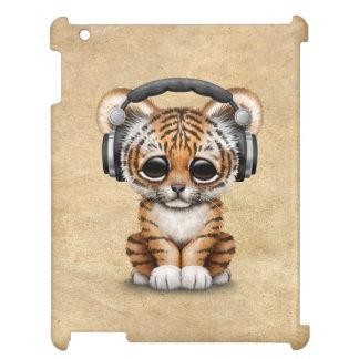 Cute Tiger Cub Dj Wearing Headphones iPad Case