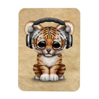 Cute Tiger Cub Dj Wearing Headphones Magnet