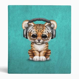 Cute Tiger Cub Dj Wearing Headphones on Blue 3 Ring Binders