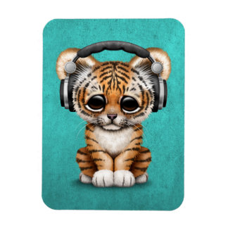 Cute Tiger Cub Dj Wearing Headphones on Blue Magnet