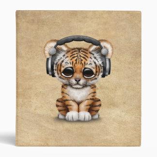 Cute Tiger Cub Dj Wearing Headphones Vinyl Binders