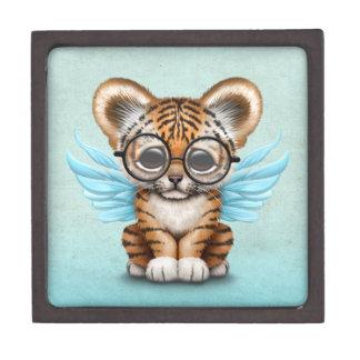 Cute Tiger Cub Fairy Wearing Glasses on Blue Keepsake Box
