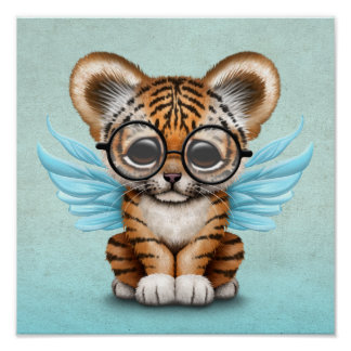 Cute Tiger Cub Fairy Wearing Glasses on Blue Poster